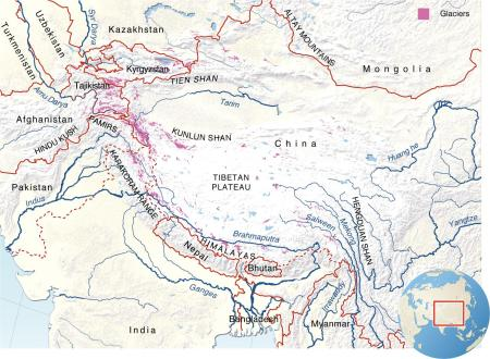 The greater Himalayan region stretches 3,500 miles, from Afghanistan to Burma/Myanmar.