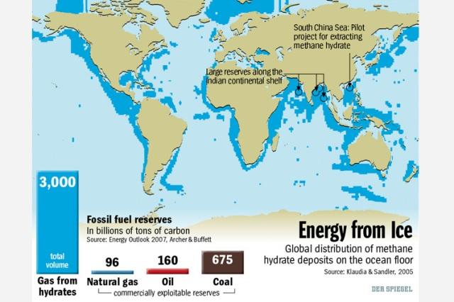 Map of global methane reserevs
