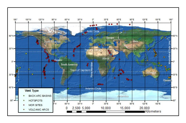 A map of confirmed and inferred vent sites worldwide (NOAA PMEL Vents Program)