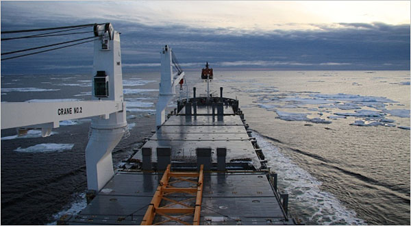 A German ship, following a Russian icebreaker, is about to complete a shipment from Asia to Europe via Arctic waters. [Credit: Beluga Group]