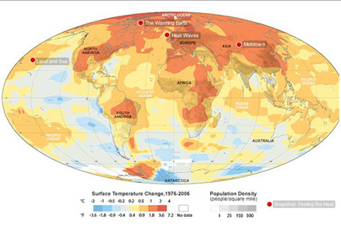 Global surface temperature change 1976-2005